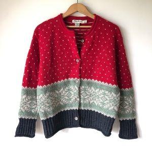 Vintage Wool Eddie Bauer Fairisle Sweater Cardigan